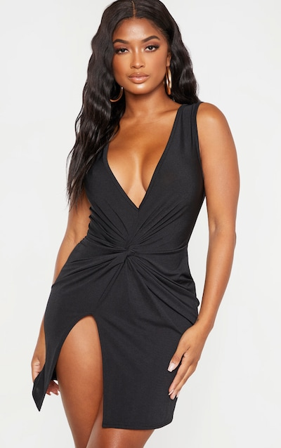 Shape Black Slinky Wrap Detail Bodycon Dress