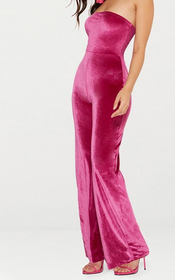 Pink Velvet Bandeau Wide Leg Jumpsuit 5
