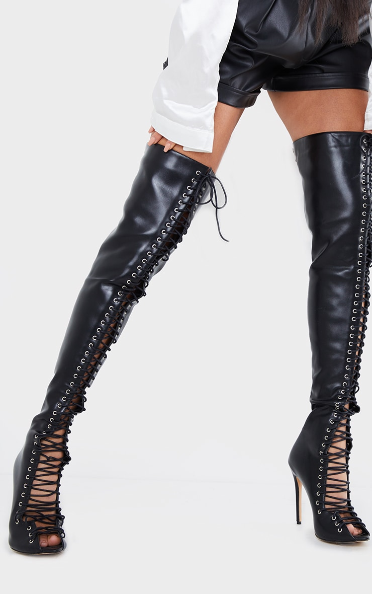 Black PU Extreme Lace Up Thigh High Heeled Boots 1