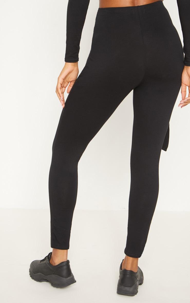Black Cotton Tie Detail Leggings 4
