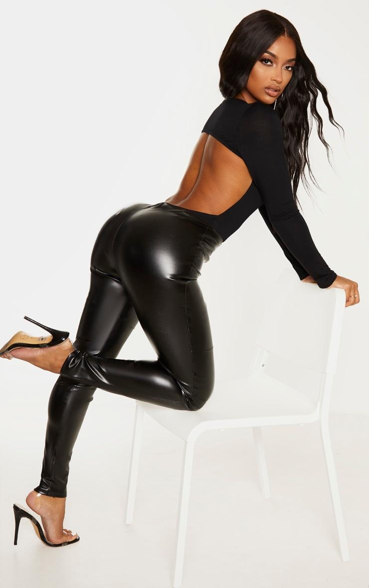 Shape Black Jersey Long Sleeve Backless Bodysuit 5