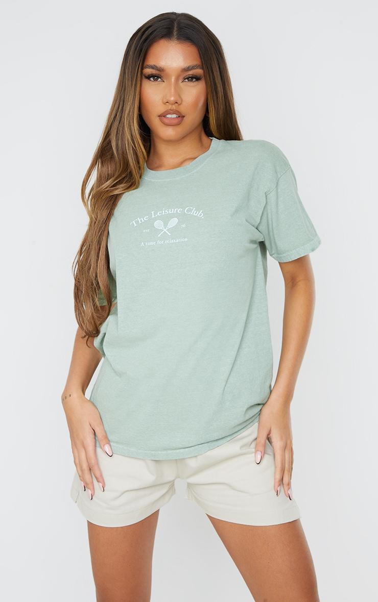 Sage Green The Leisure Club Printed T Shirt 1
