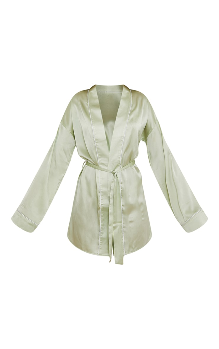 Sage Mix And Match Piped Detail Satin Robe 5