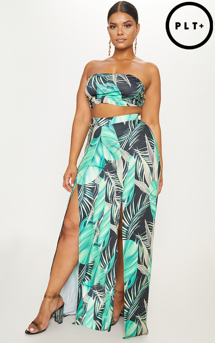 Plus Black Tropical Print Wide Leg Trousers 1