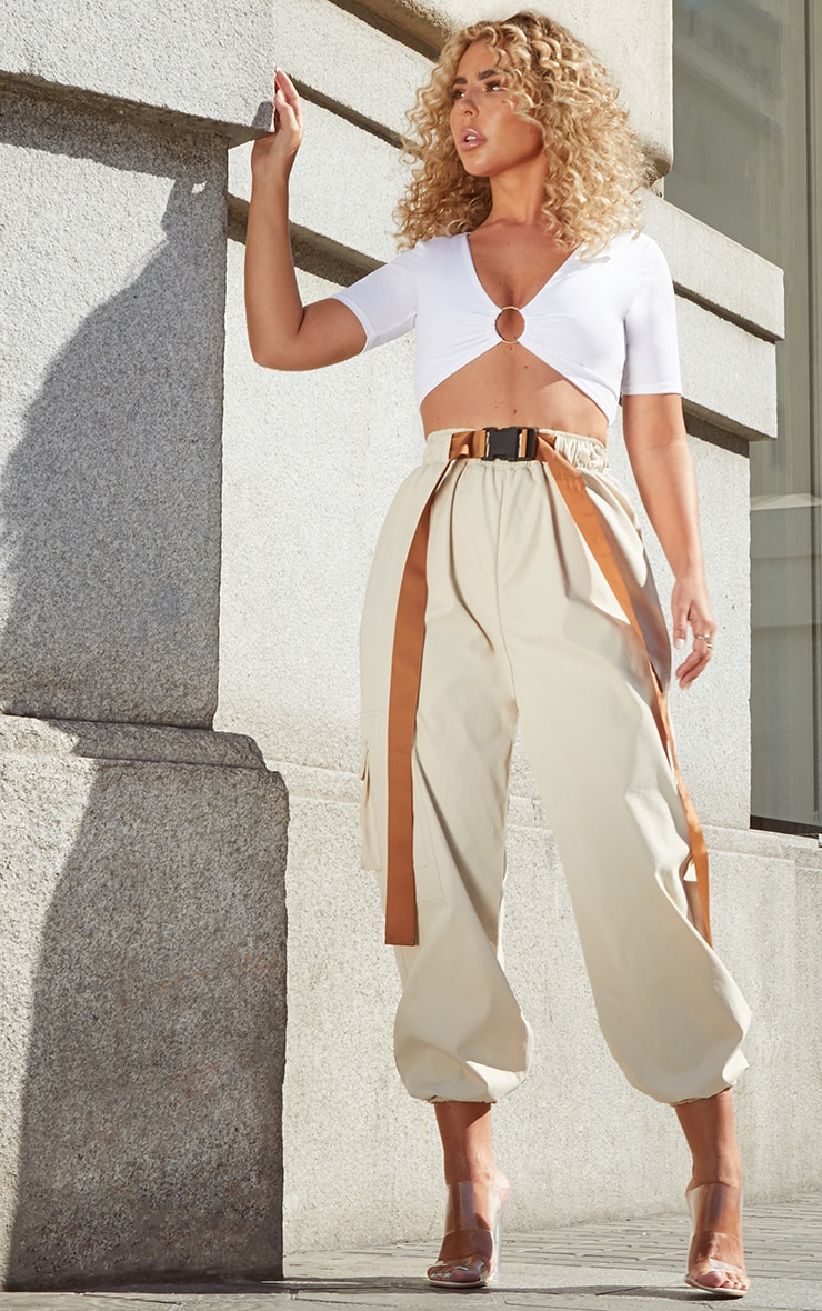 White Slinky Ring Detail Crop Top 4