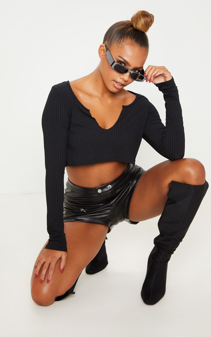 Black Long Sleeve Rib Raw V Crop Top 1