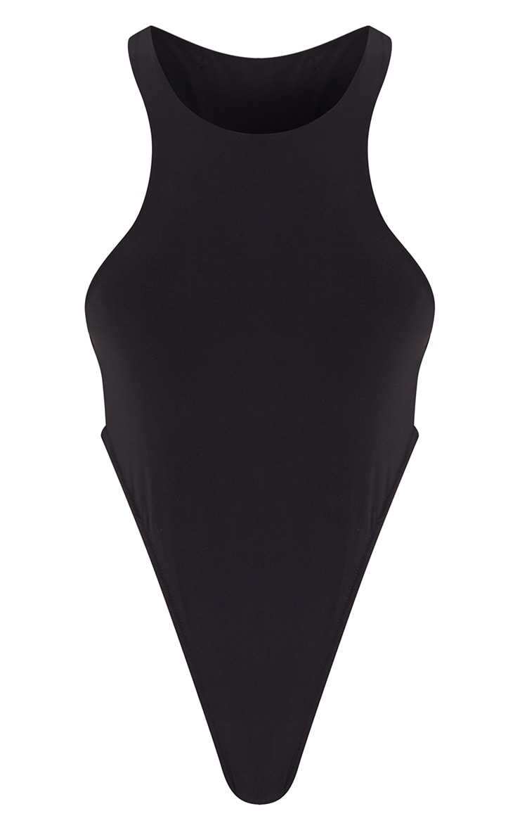 Tall Black Slinky Racerneck Bodysuit 5