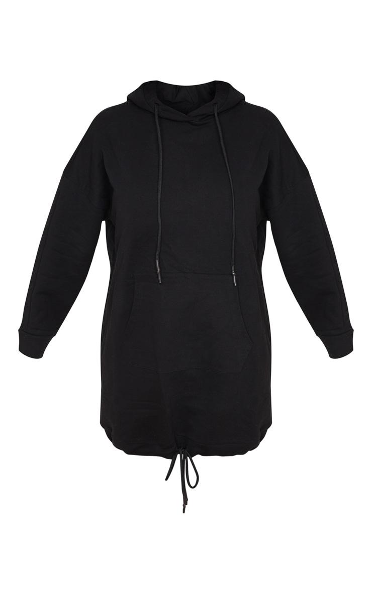 Robe pull noire oversize à poche frontale et cordons ajustables  5