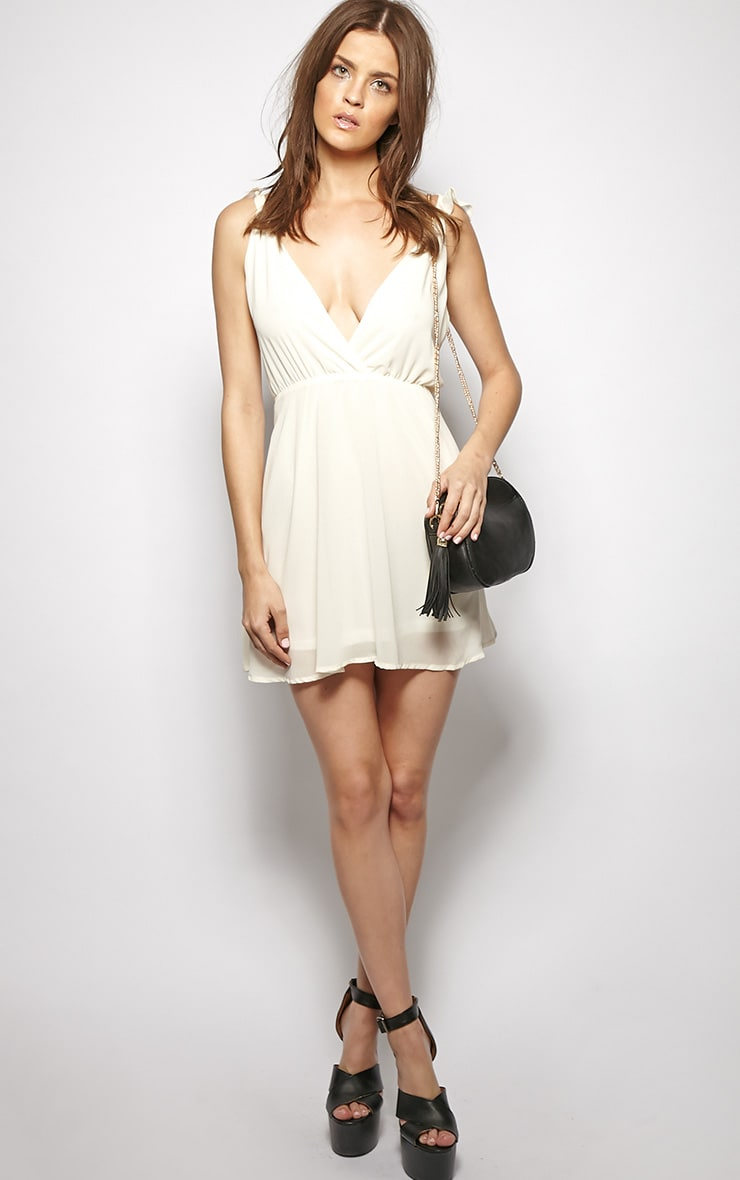 Corinne Cream Chiffon Babydoll Dress 5