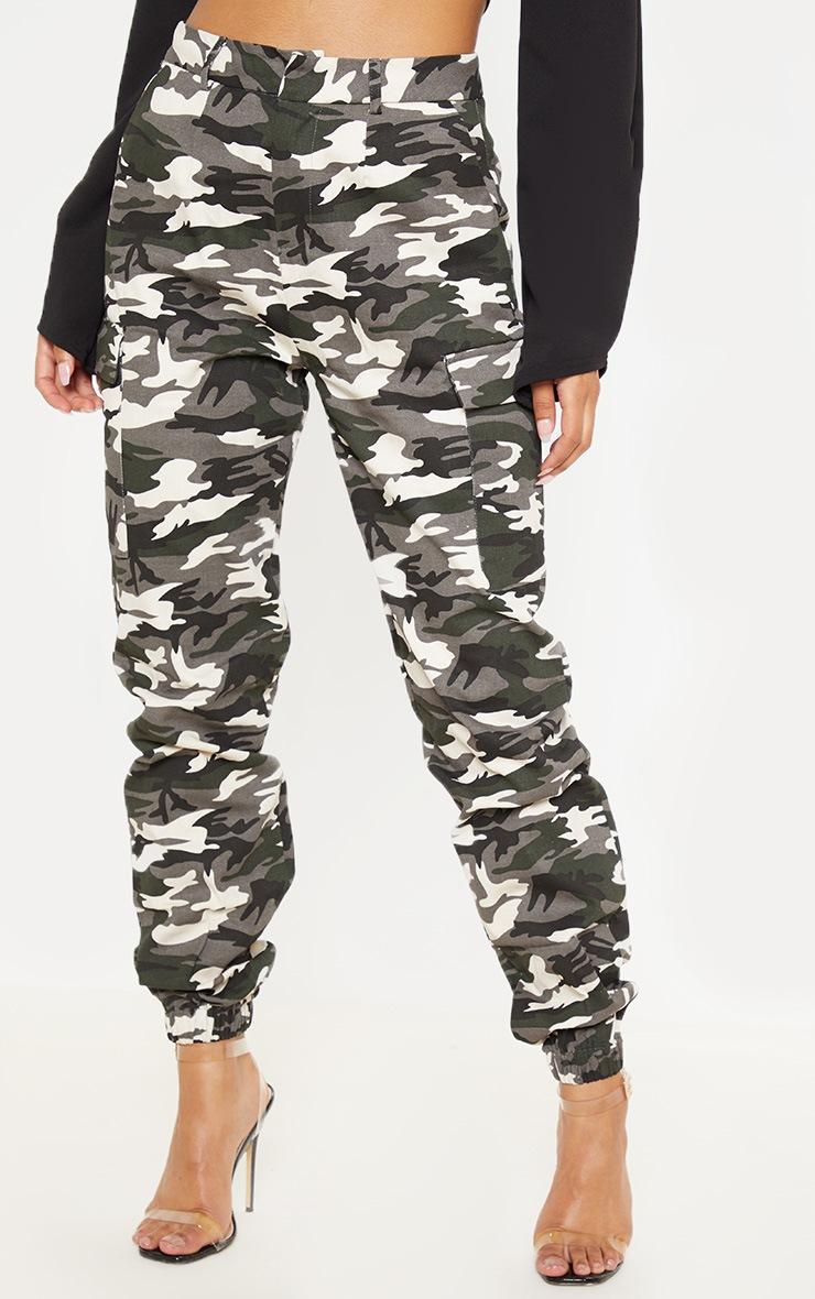 Grey Camo Print Cargo Trousers 2