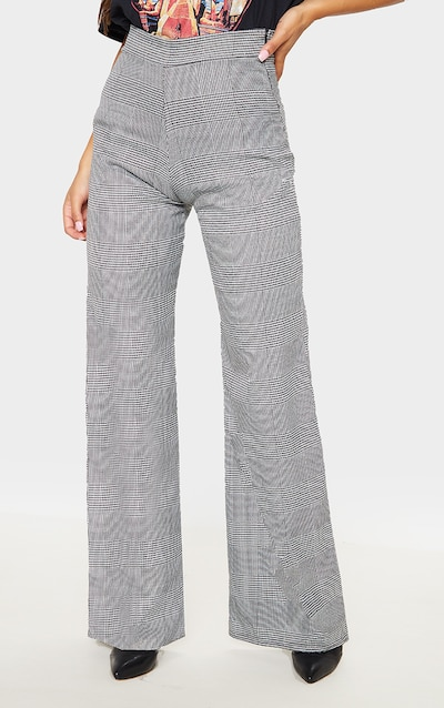 Grey Check Print Linen Wide Leg Trouser