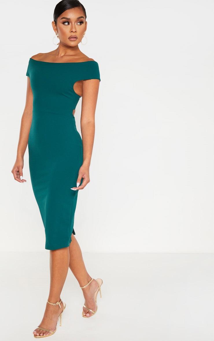 Emerald Green Bardot Cross Back Midi Dress 4