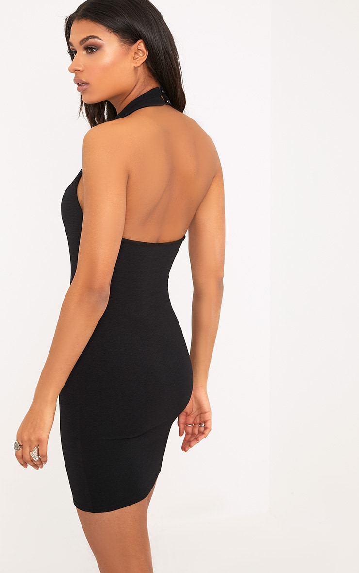 Louisa Black Halterneck Hook And Eye Detail Bodycon Dress  2