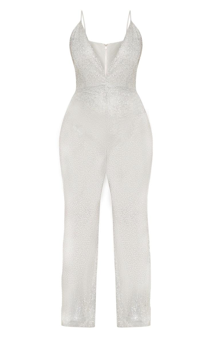 Plus Silver Glitter Mesh Plunge Jumpsuit 4
