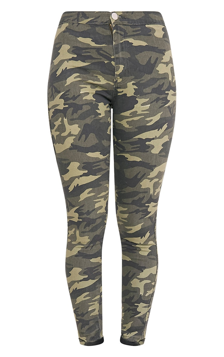 Khaki Camo High Rise Skinny Jean 4