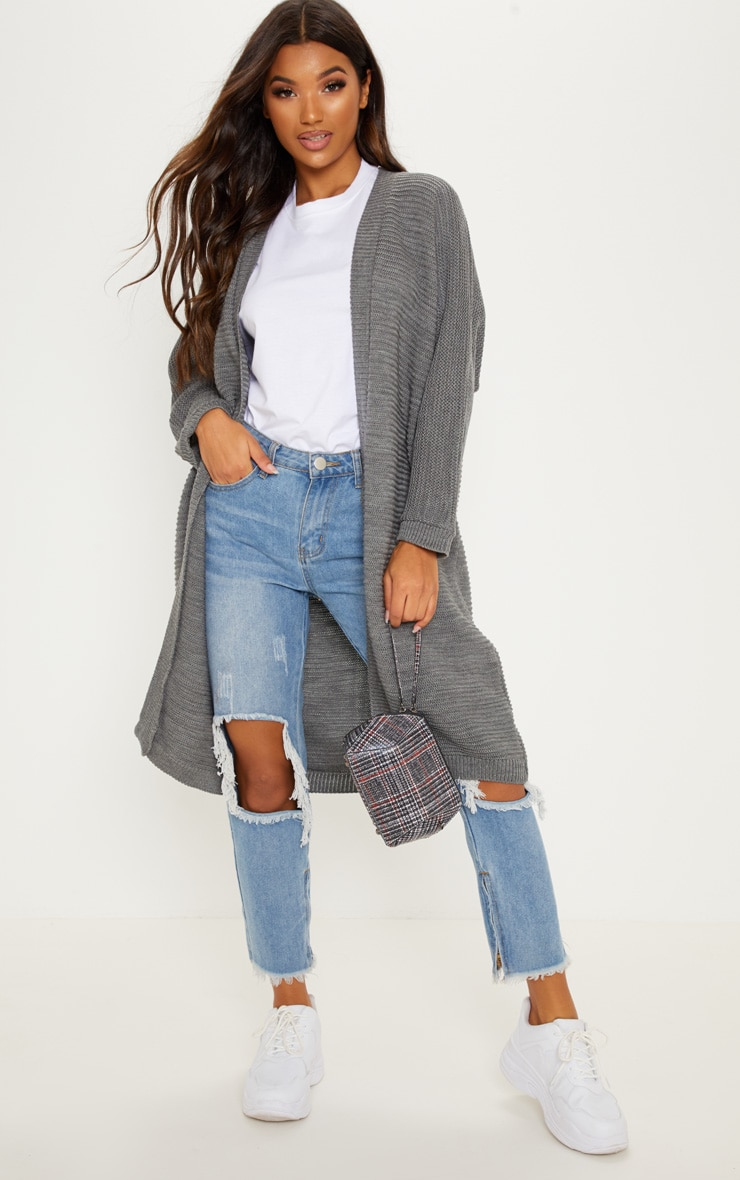 Grey Maxi Knitted Batwing Cardigan