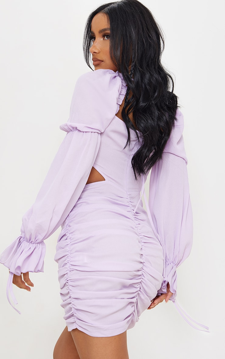 Lilac Cut Out Ruched Detail Bodycon Dress 2