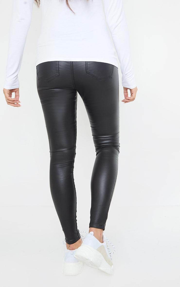 Maternity Black Coated Skinny Jeans 3