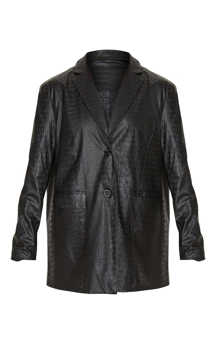 Black Faux Leather Croc Oversized Dad Blazer 3