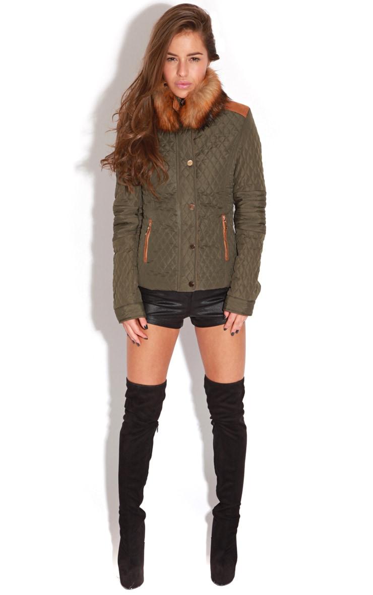 Clara Khaki Jacket With Brown Fur Trim 3