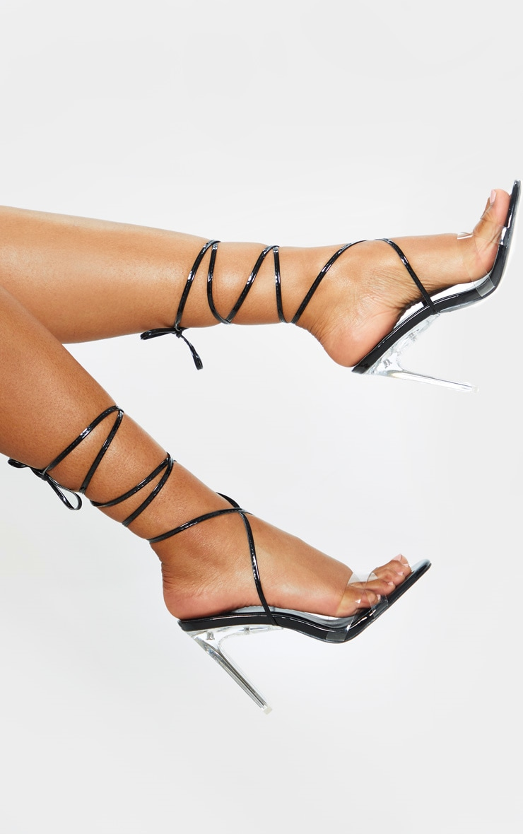 Black Clear Heel Ankle Tie Sandal 1