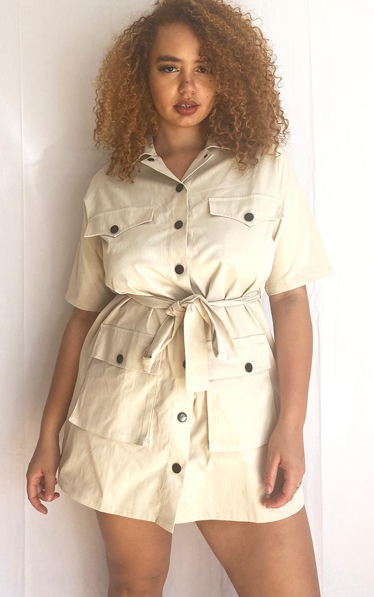 Plus Cream Utility Short Sleeved Shirt Dress 1