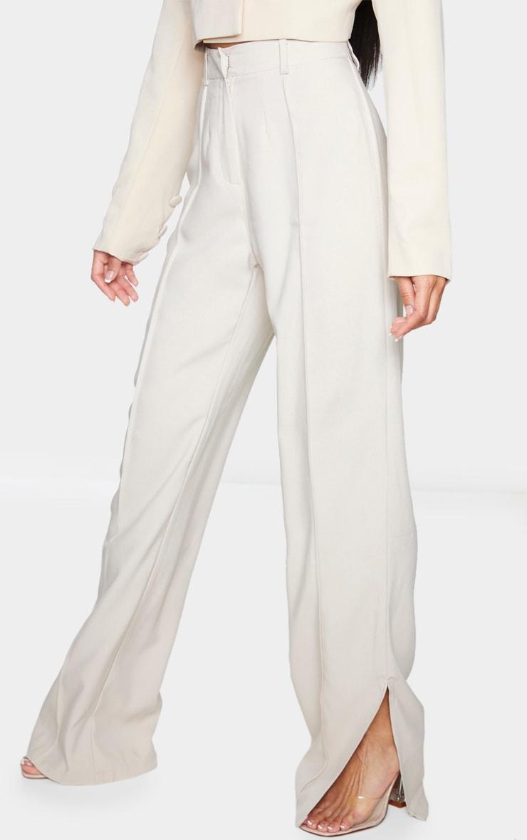 Beige Pintuck Detail Split Hem Woven Pants 2