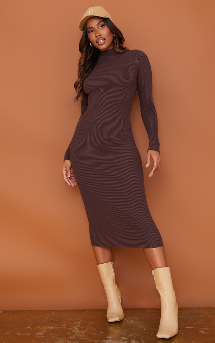 Chocolate Turtle Neck Knitted Bodycon Maxi Dress 1