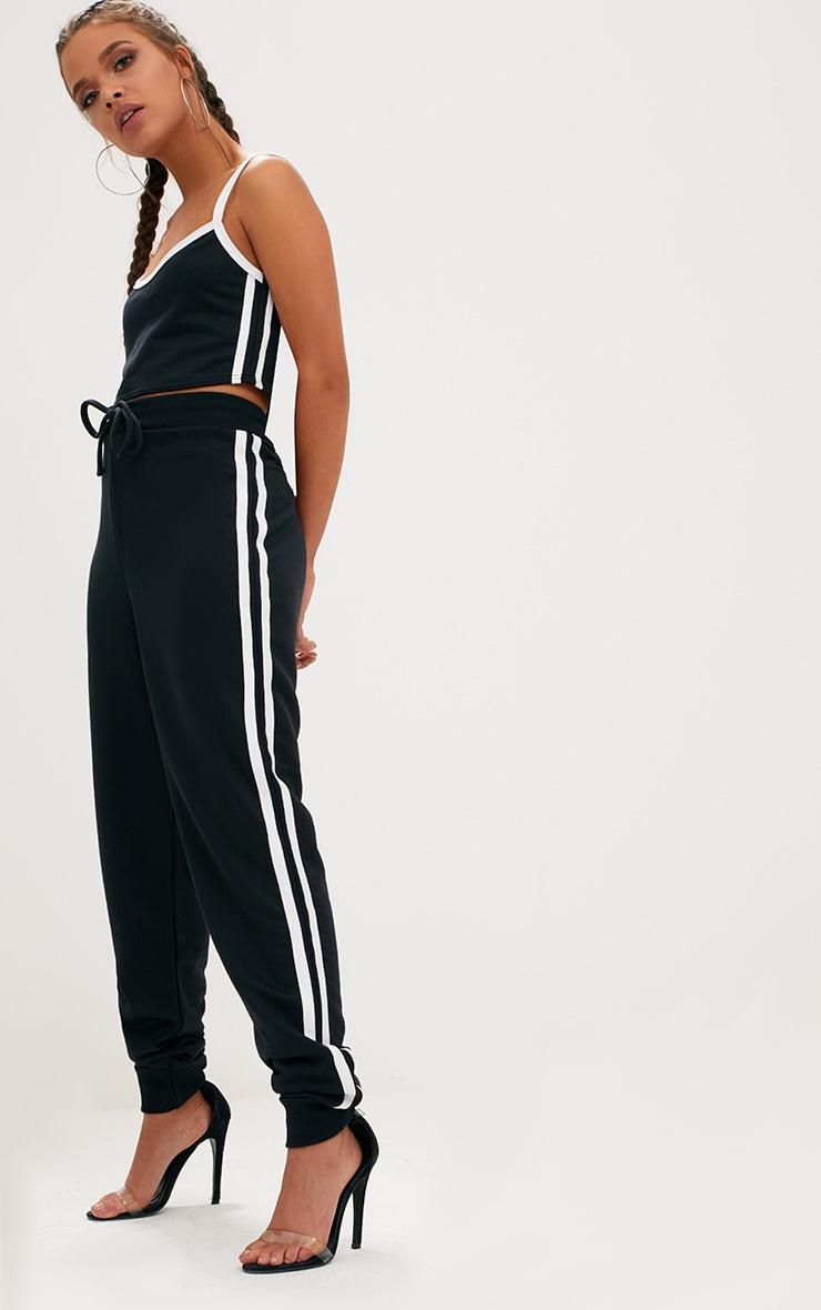 Black Contrast Stripe Joggers  1