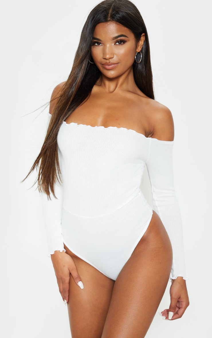White Frill Edge Long Sleeve Thong Bodysuit  2