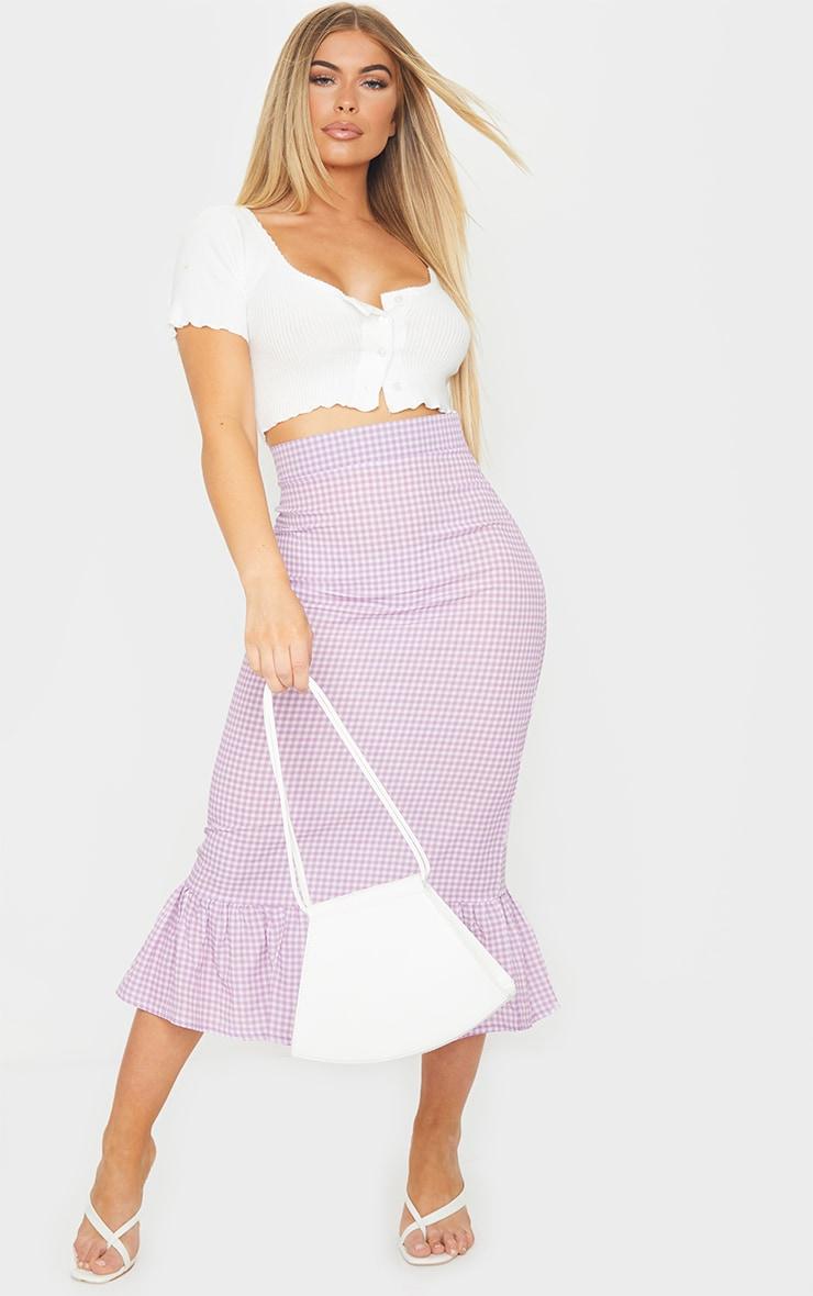 Lilac Gingham Frill Hem Midaxi Skirt 1