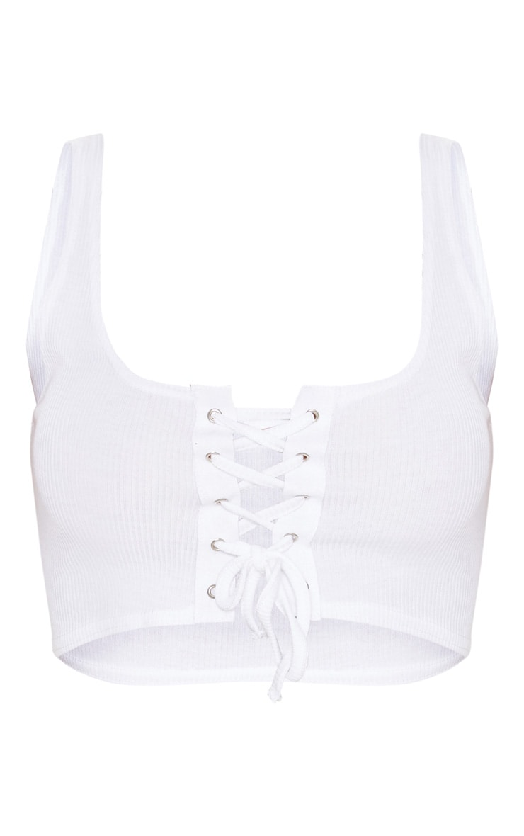 White Lace Up Ribbed Crop Top 3