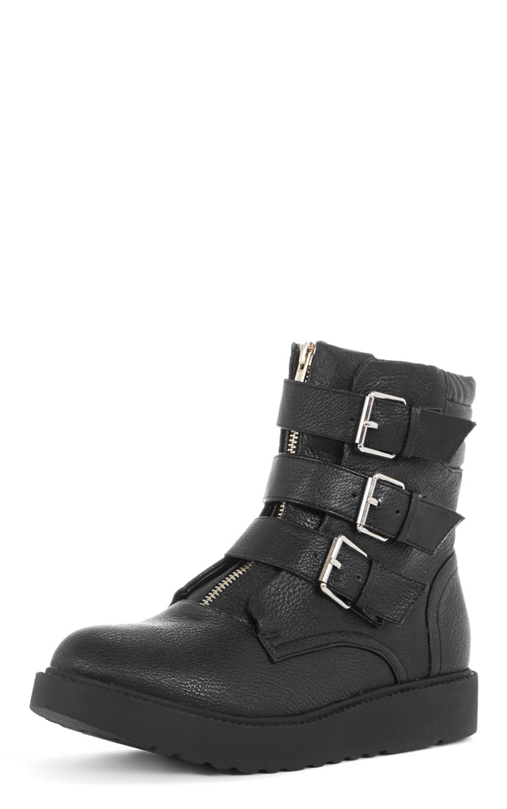 Honor Three Buckle Zip Detail Biker Boot  4