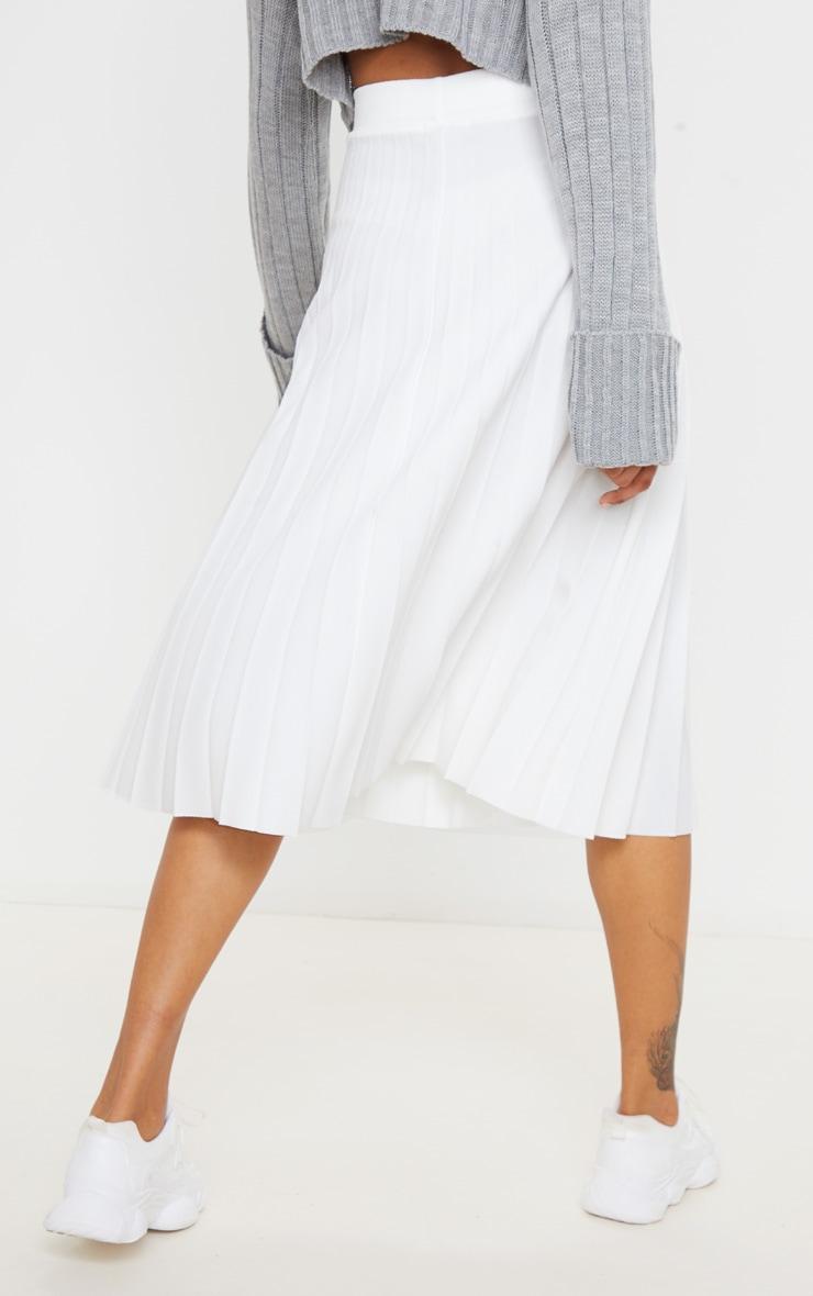 Cream Pleated Floaty Midi Skirt 4