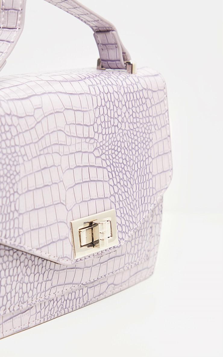 Dusty Lilac Patent Box Cross Body Bag 4