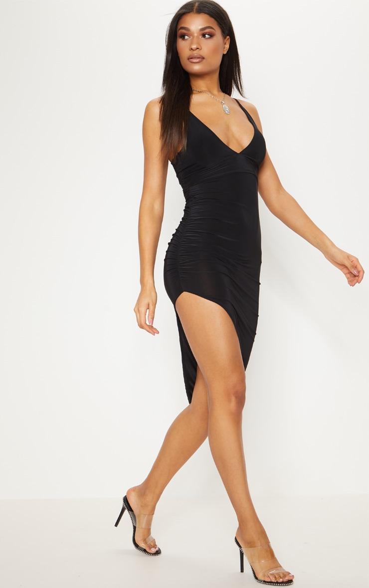 Black Slinky Asymmetric Hem Midi Dress 1