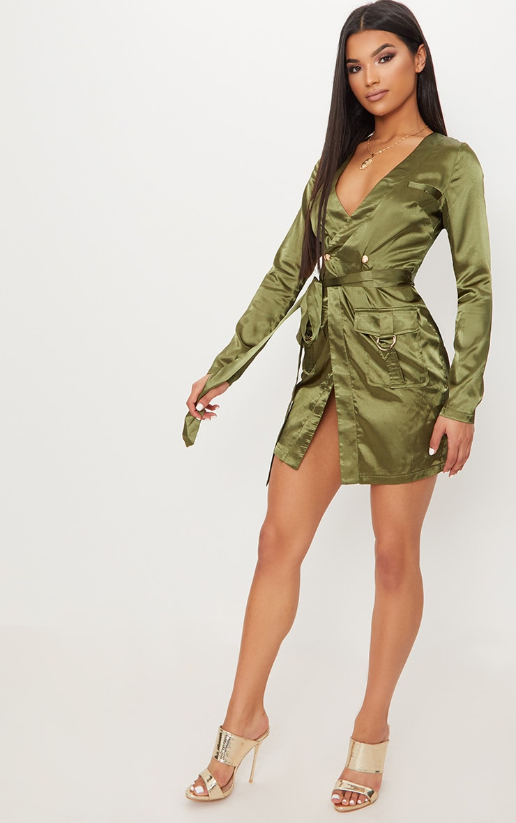Olive Satin Utility Long Sleeve Bodycon Dress 4