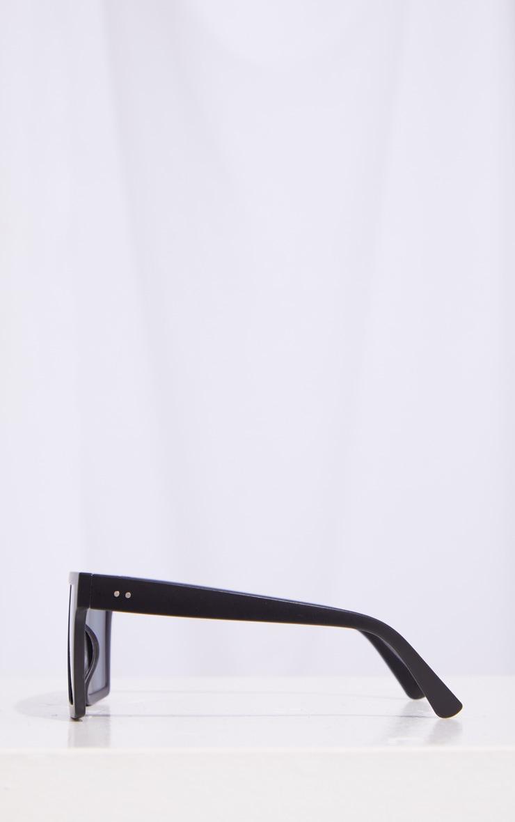 Black Matte Oversized Flat Bar Sunglasses 4