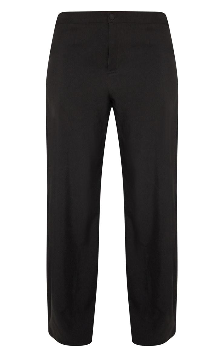 Plus Black Button Detail Wide Leg Pants 3