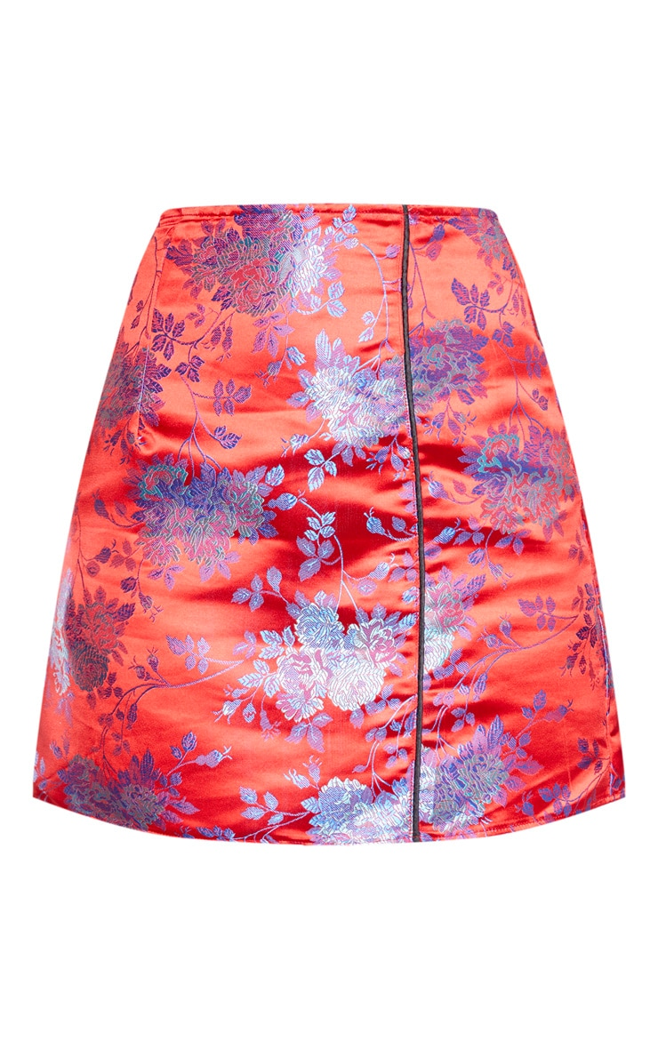 Red Print Satin A Line Skirt 3