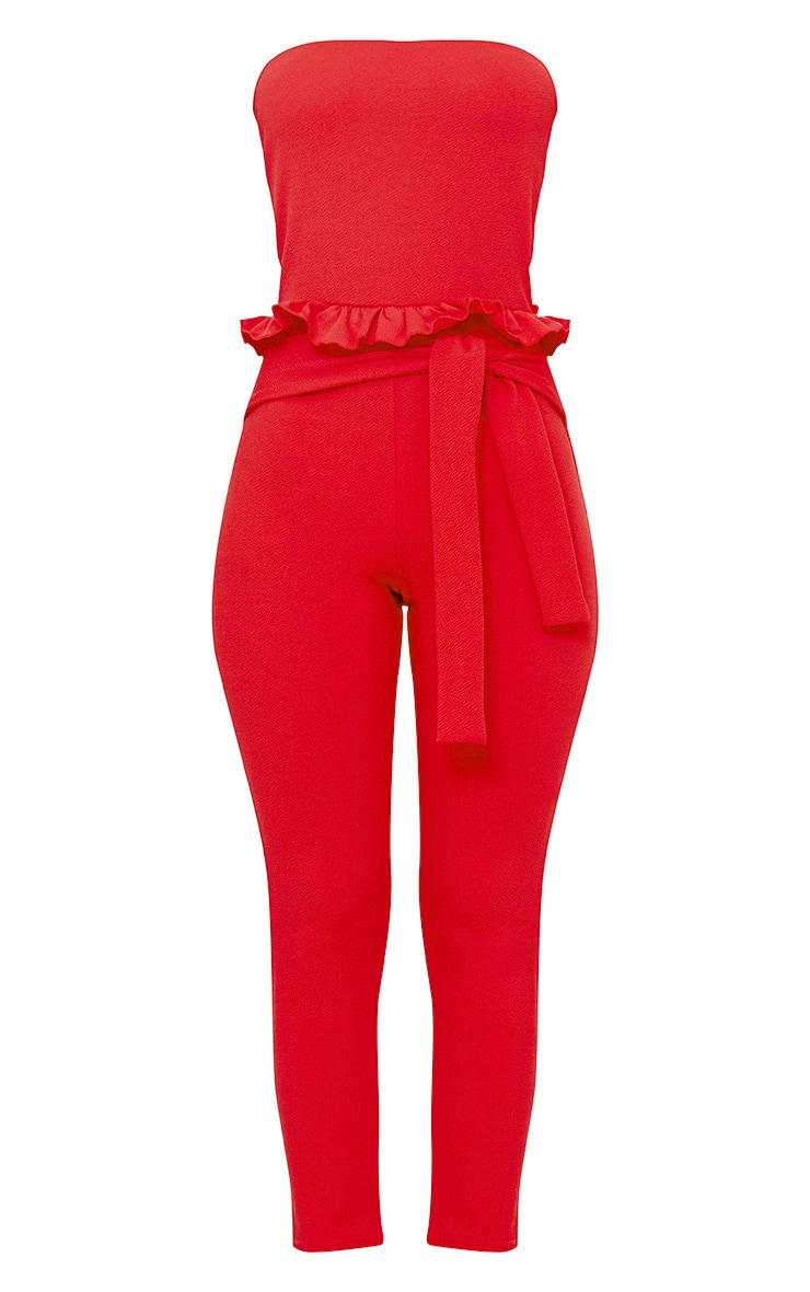 Red Frill Tie Waist Jumpsuit 3