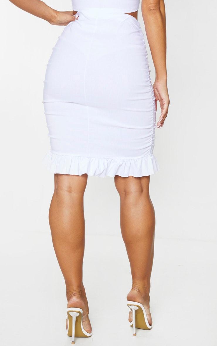 White Woven Stretch Ruched Side Frill Hem Mini Skirt 2