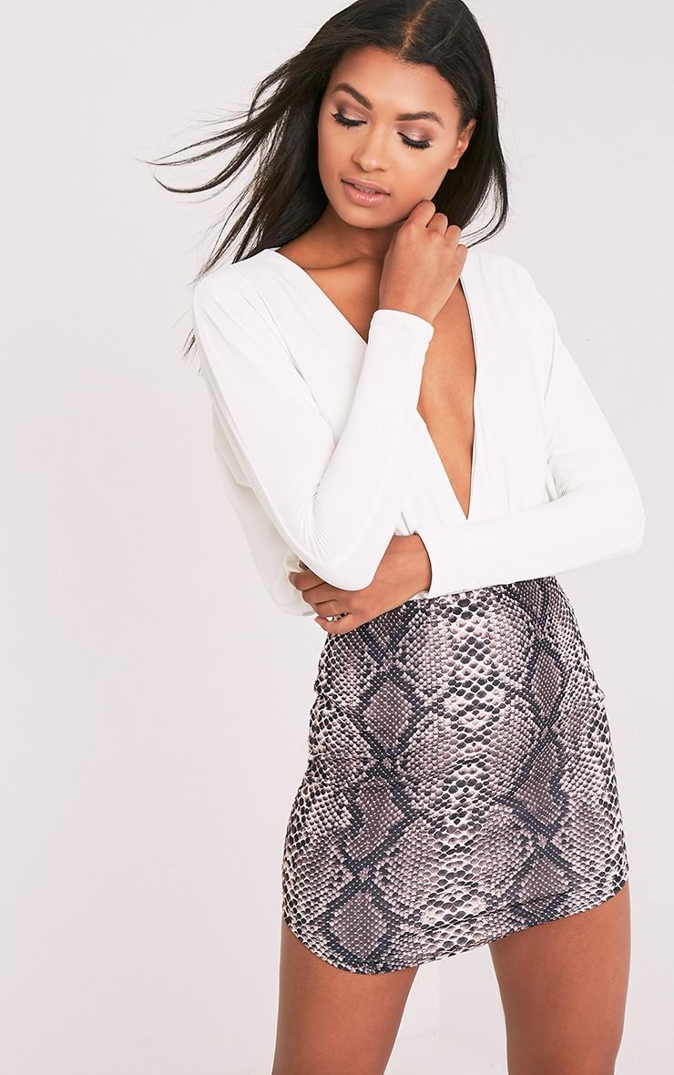 Angelia Brown Curve Hem Snake Print Mini Skirt 2