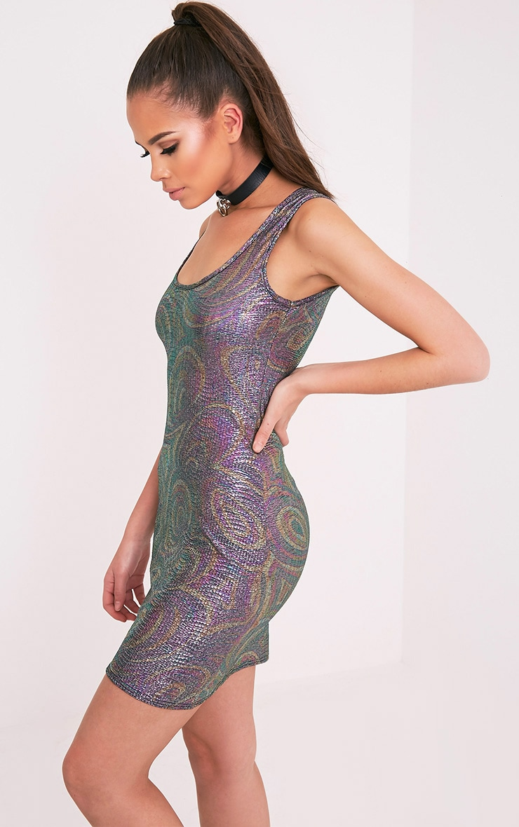 Candia Metallic Purple Glitter Lurex Bodycon Dress 4