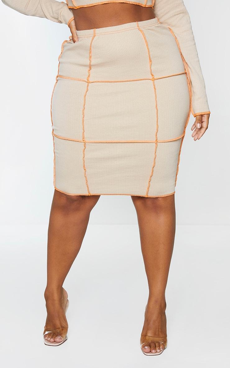 Plus Stone Contrast Rib Midi Skirt 2