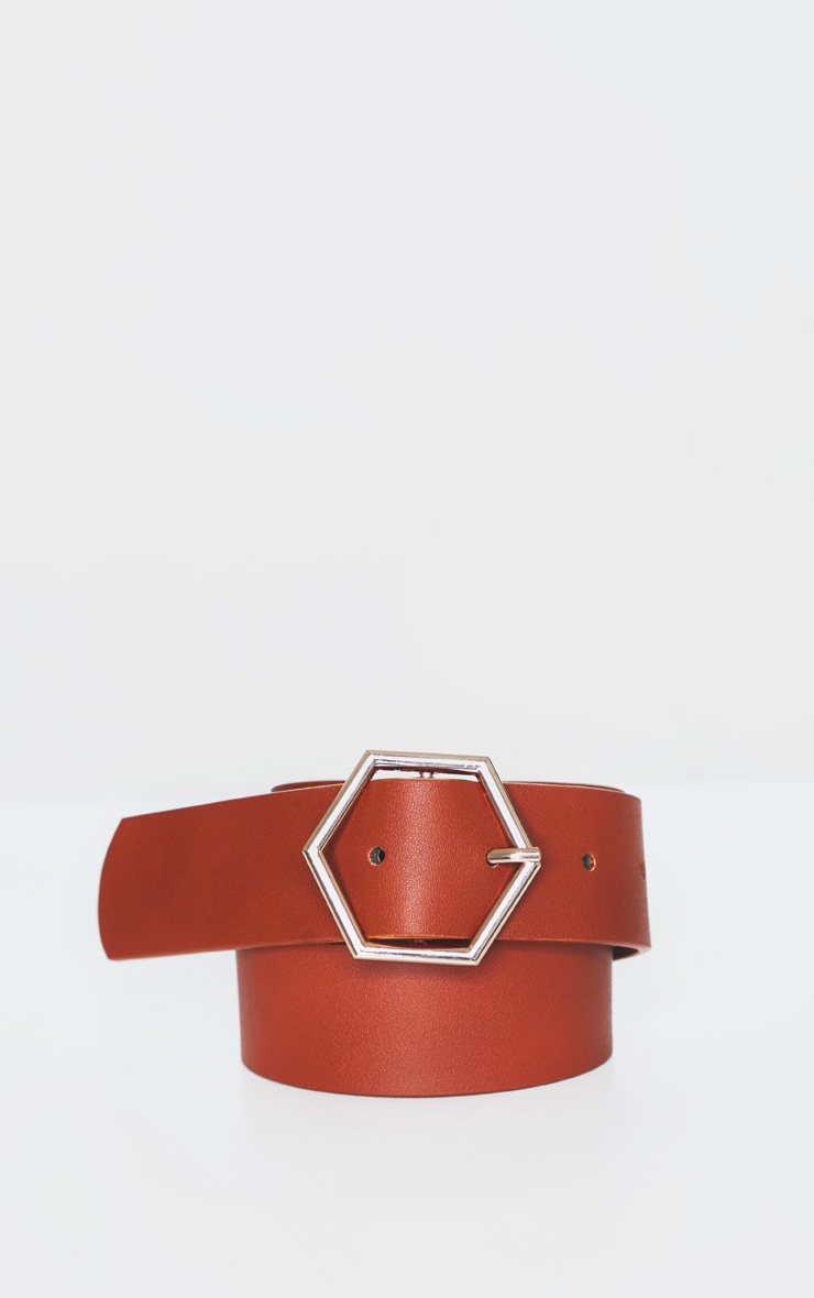 Tan Basic Hexagon Buckle Belt 3