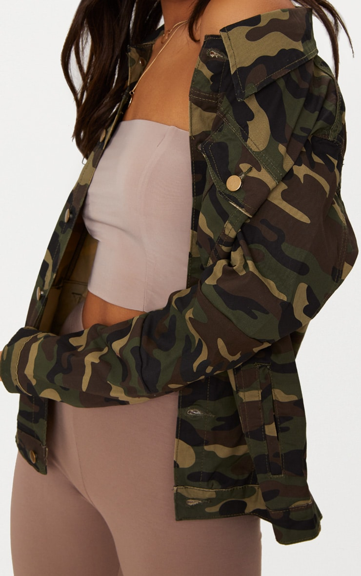 Camouflage Oversized Denim Jacket 5