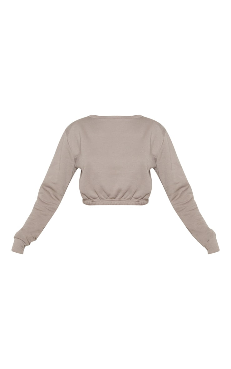 Grey Crew Neck Elasticated Hem Sweater 3