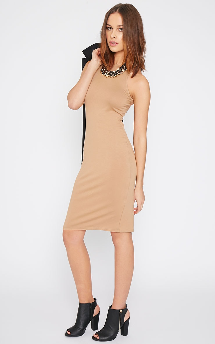 Basic Camel Racer Neck Midi Dress 1