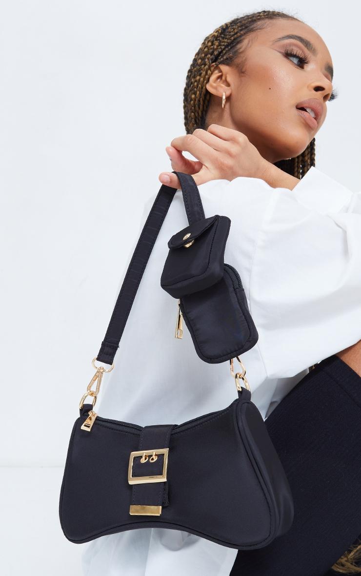 Black Nylon Multi Pocket Shoulder Bag 2